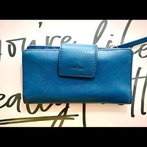 Fossil Cyanine Blue Wallet  Leather Billfold